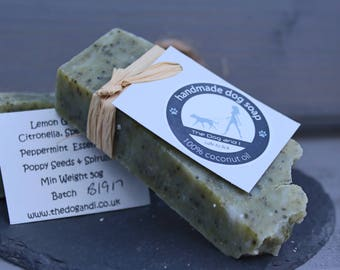 100% Coconut Oil Dog Soap Min 50g Handmade with Mint, Lemongrass & Citronella Essential Oils