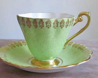 Mottled Green and Gold Gilt Teacup and Saucer by English Maker Royal Standard Bone China 1950's