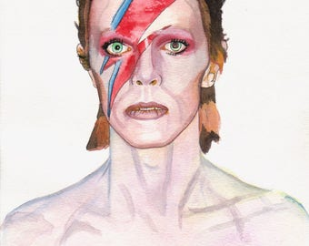 8.5x11 WATERCOLOR painting PRINT of David Bowie!
