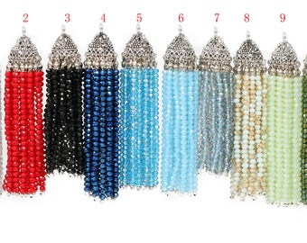 Lovely Bead Handmade Crystal Tassels with Lead Free Pewter End Caps (18mm thickness 100mm length)