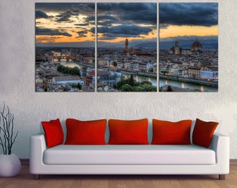 "3 Panel Split Florence City Italy Canvas picture Print. 1.5"" deep frames.  Photograph for home/office wall decor & interior design.wall art"