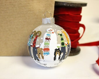 Hand Painted Family Ornament  MultiColored Scarves