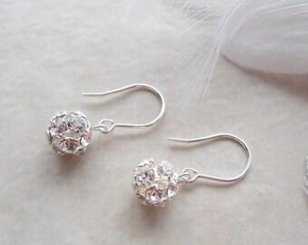 Rhinestone Ball Sterling Silver Earrings