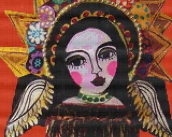 Modern Cross Stitch Kit By Heather Galler 'Mexican Angel', Angel Cross Stitch, Counted Cross Stitch, Cross Stitching Art,