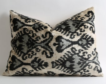 Black Gray Ikat Pillow Cover Soft Handwoven Silk Velvet Decorative Throw Black Grey White Ikat Pillow Cover Bohemian Home Decor Cushion