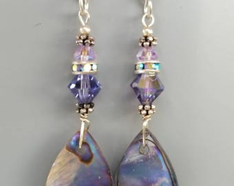 Lavender abalone shell earrings