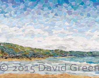 Whitsand Bay - Signed Fine Art Giclée Print.- Blue landscape, beach view, headland, contemporary fine art collage,