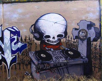 Skeleton DJ Skeleton Graffiti Art 18x24
