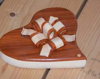 "8"" wood heart shaped box with bow"