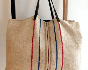 Vintage Linen Stripe Tote/Shopper Bag with 100% Leather Handles