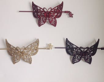 Vintage style butterfly hair slide barrette with diamanté
