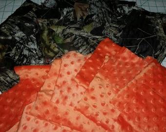 Scrap bundle of Mossy oak and Orange Minky fabric