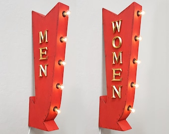 ON SALE! Men Women Plug-In or Battery Operated led Bathroom Men's Women's Light Up Restroom Rustic Metal Marquee Sign Arrow - 14 Colors!