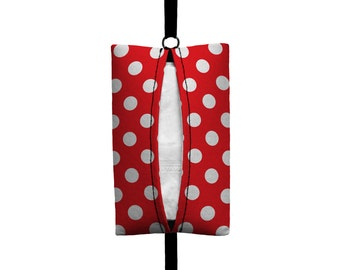 Auto Sneeze - Mini Polka Dot - Visor Tissue Case/Cozy - Car Accessory Automobile Polkadot Red White