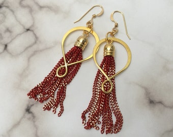 Red Chain Earrings, Red Tassel Charm Jewelry, Tassel Hoop Earrings, Long Red Gold Earrings, Red Fringe Earrings, Red & Gold Tassel Earrings