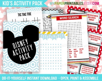 Printable Disney Activity Pack INSTANT DOWNLOAD Disney World Disneyland Mickey Minnie Mouse Kids Disney DIY Laminate kids activity printable