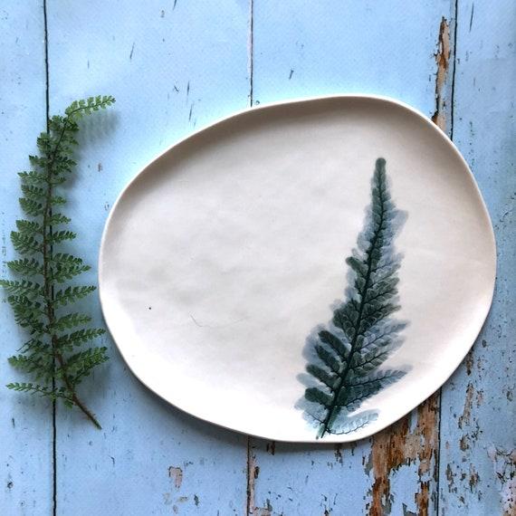 Porcelain fern platter handmade ceramics