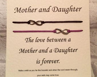 Mother and daughter  Tibetan Silver Charm Wish Bracelets & Message Card    Handmade By Erin
