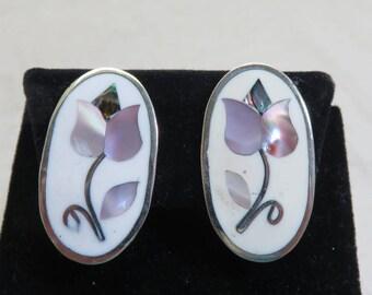 1980s Pink Mother of Pearl Tulip Design Clip On Earrings, Silvery Alpaca Metal Earrings