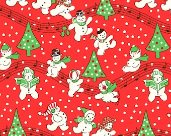 Storybook Christmas by Whistler Studios for Windham Fabrics, Red Singing Snowmen 41752-3 Red Dancing Snowman Christmas Fabric by the Yard
