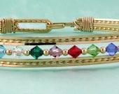 Mothers or Grandmothers Bracelet, Gold, Silver, Rose, Custom, Birthstone Bracelet, Wire Wrap, Mom Bracelet, Family Bracelet, Brides Gift,