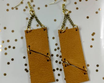 Leather/Earrings/Jewelry/Geometric/Boho/Dangle/Handmade/Style/Fashion/Unique/Brown/Gold/Gifts for Her/Women/Stocking Stuffer/Ready to Ship