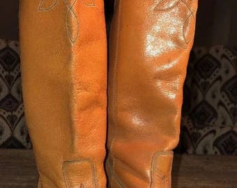 Vintage Acme Leather Vamp Fox Cognac Brown Western Cowboy Pull On boots women size 7 M