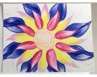 Hand-drawn Note card Flower