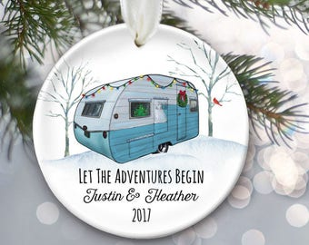 Vintage camper ornament, Retro camper, Happy Camper Glamping gift, Let the adventures begin RV decor personalized Christmas ornament OR836
