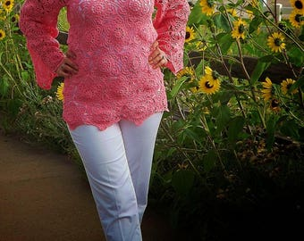 Summer Crochet tunic of pink cotton. Gift for her.