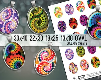 Psychedelic Retro Dots  30x40 22x30 18x25 13x18  Oval Digital Collage Sheet for Glass and Resin Pendants Magnets Paper Craft