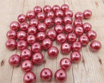 6mm Glass Pearls - Dark Rose Pink - 75 pieces - Medium Pink
