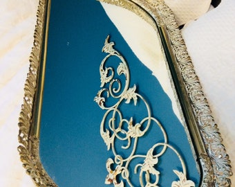 "Vintage Gold Mirror Tray Extra Large Floral and Feather Filigree Dresser Vanity Tray 21"" Gold Plated"