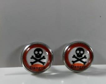 Skull and Crossbone Earrings, Skull Earrings, Pirate Earrings, Rockabilly Earrings, Psychobilly Earrings, Goth Earrings, Birthday Earrings