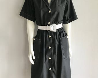 Vintage Women's 80's Black Dress, Short Sleeve, Knee Length by Willi (L)