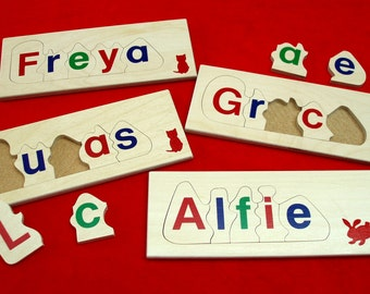 Personalised name jigsaw puzzle - 5 letter educational wooden toy