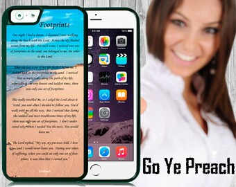 Footprints Phone Case, Bible Verse Poem Scripture iPhone case 4/4s 5/5s 5c 6 & Samsung Galaxy case s3 s4 s5 Faith iPhone Cover