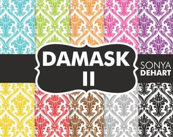 Damask Digital Paper, Digital Paper Damask, Damask Paper, Colorful Damask, Damask Patterns, Wedding Damask, Digital Damask
