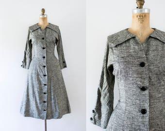 1950s Stoney Brook linen classic day dress / 50s heathered gray