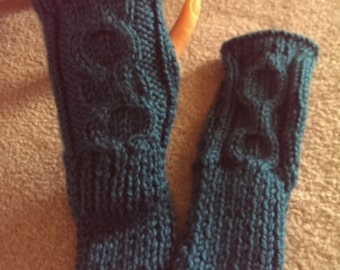 Fingerless Gloves - Hand Knit Cable