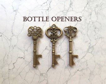"""Skeleton Key BOTTLE OPENERS – 100 pcs - 3 Styles – 3"""" Long –Vintage Style - Make Your Own Wedding Favors! Ships from USA."""