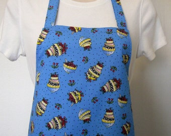 Full Apron - Cherry Bowls on Bright Blue Background