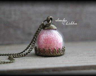 Antique Bronze glass dome chain with glitter dust