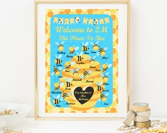 Bees Classroom Welcome Poster - Teaching Resource - Personalised With Students Names - Classroom Decoration