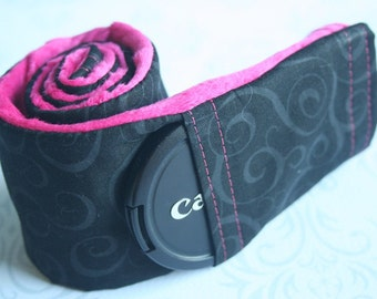 Camera Strap Cover with Lens Cap Pocket - Padded Minky - Photographer Gift - Black Scroll with Fuchsia Pink