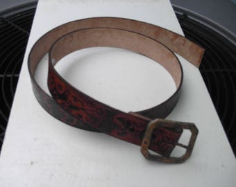 Steampunk Leather Belt with Rusty Buckle