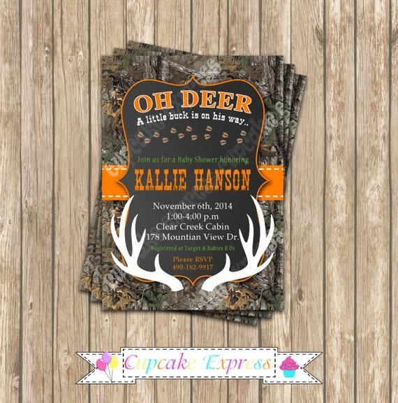 Camo Baby Shower Boy Deer Hunting PRINTABLE Invitation 5x7