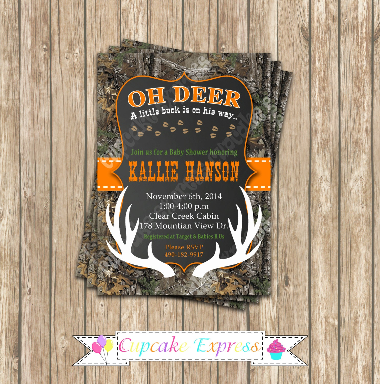 Camo baby shower boy deer hunting printable invitation 5x7 zoom filmwisefo