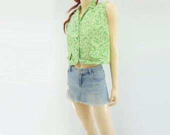 Cropped Shirt Floral Blouse Sleeveless Blouse 60s Blouse Summer Blouse 1960s Cotton Blouse l