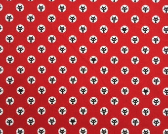 """Curious black cats peeking from white dots on red or beige background - 100% cotton oxford - made in Japan - 1/2 yard increments - 44"""" wide"""
